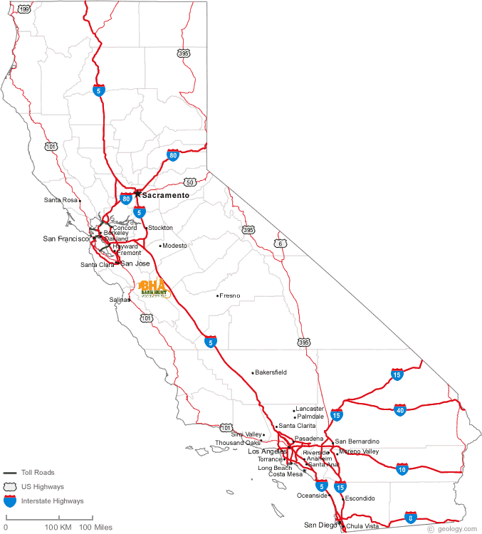 Event map for CA